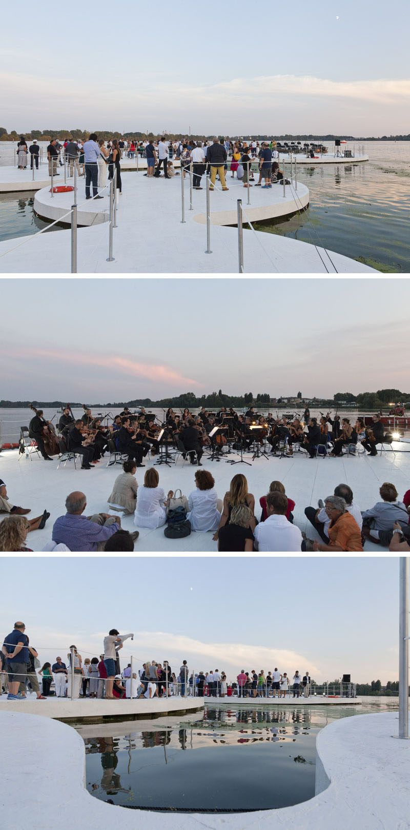 Arcipelago di Ocno are floating piazza for the city on a lake in Mantova, Italy / by Space Caviar / aquatic installation