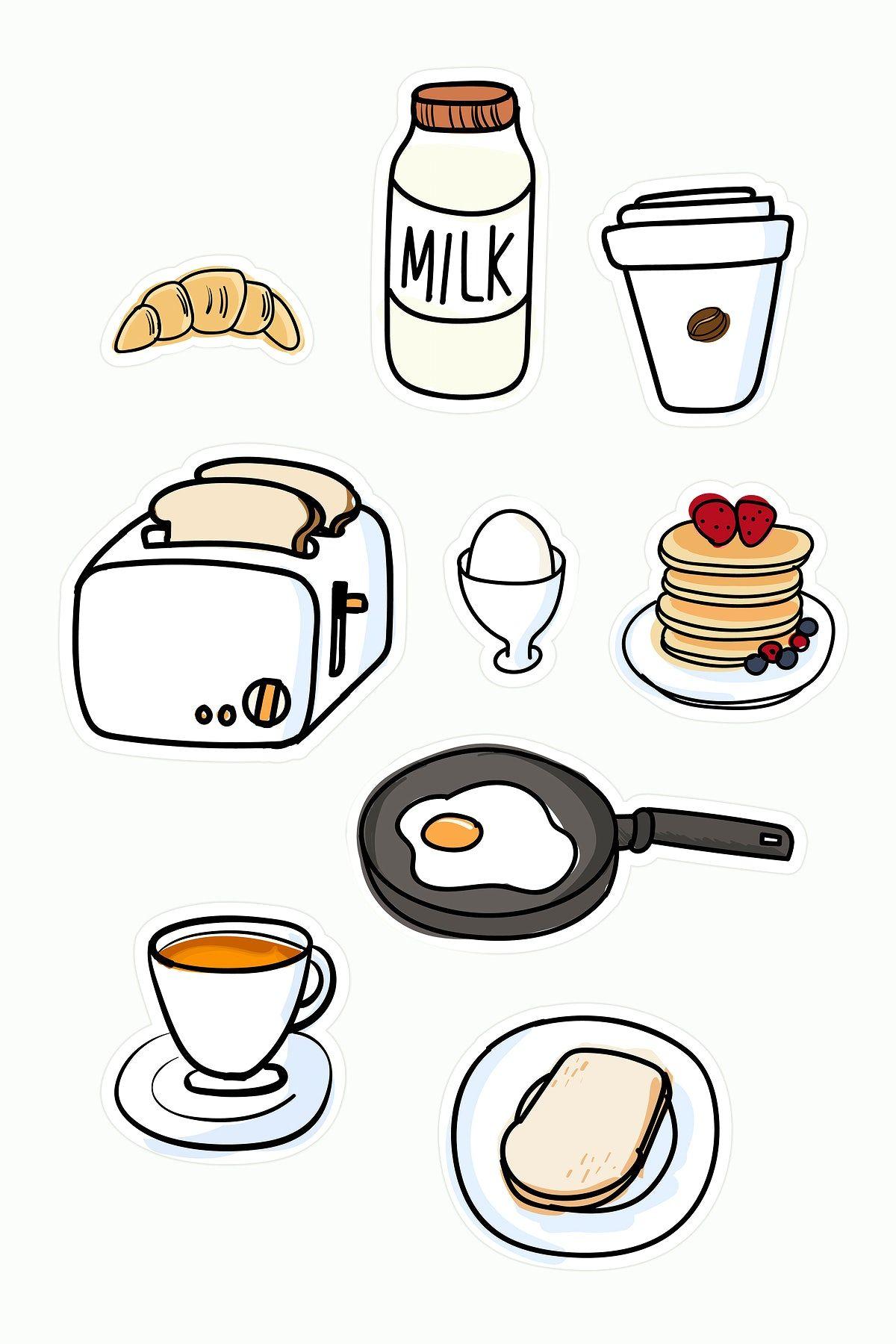 Breakfast Doodles : breakfast, doodles, Fresh, Delicious, Breakfast, Vector, Premium, Image, Rawpixel.com, Doodle,