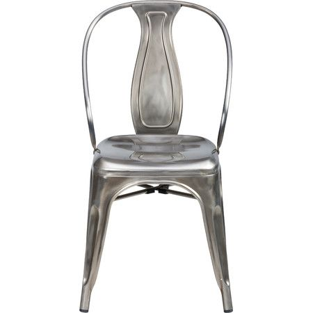 Finished in a distressed silver hue, this stylish steel side chair lends a factory-chic touch to your breakfast nook or parlor seating group.
