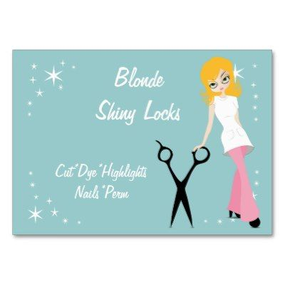Retro blond beauty salon hairdresser business card templates cute retro blond beauty salon hairdresser business card templates cute salon business card designs featuring artwork by fbccfo Image collections