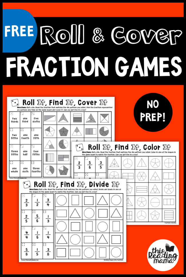 No Prep Fraction Games Roll and Cover Fraction games