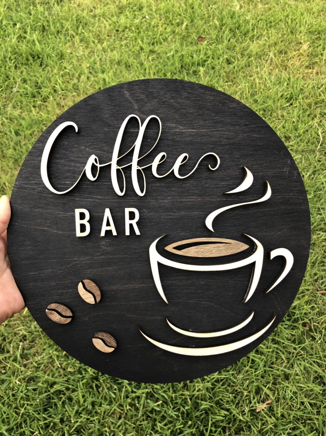 Coffee Bar 3D round sign - Coffee rustic wood sign - Kitchen decor - Coffee bar decor - Coffee Hinging - Coffee lover gift - 3D letters