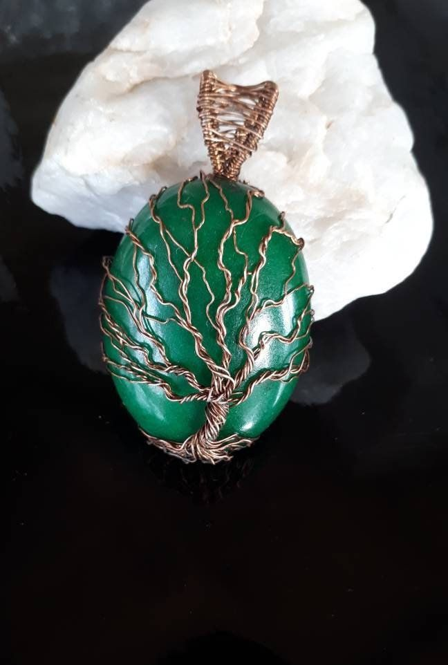 Green quartz pendant Tree of life Ware wrap necklace his and her jewelry 7th Anniversary Gift for husband Easter gift for wife birthday gift