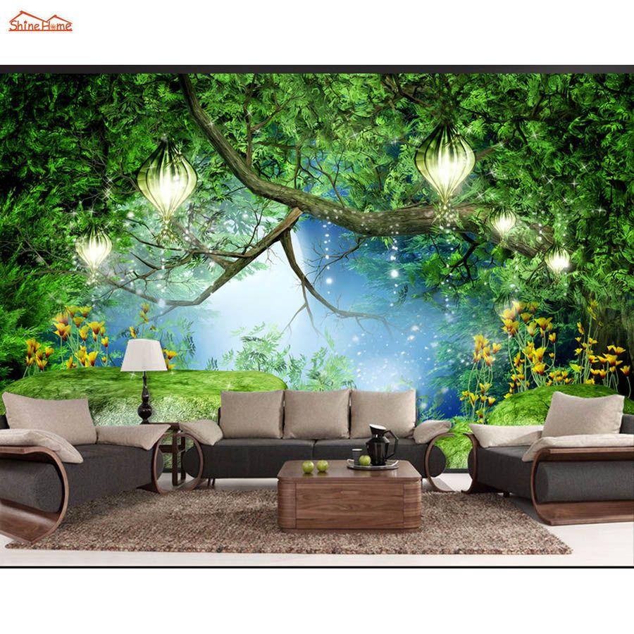 Shinehome Fantasy Forest Stone Bridge Trees Natural Mural Rolls 3 D Wallpaper For Living Room 3d Wall Paper Roll Pap Wallpaper Living Room Mural Wall Wallpaper