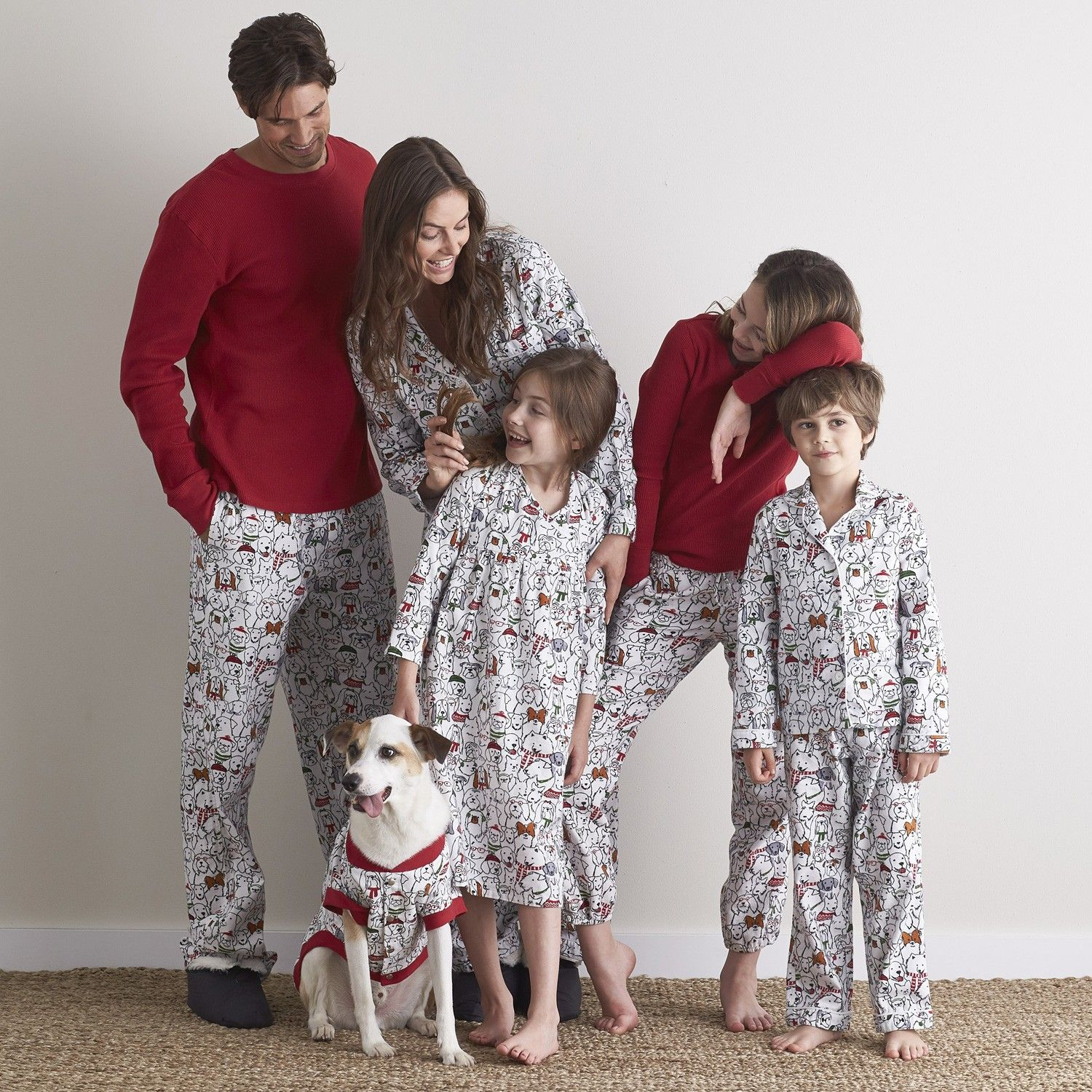 Matching family pajamas illustrated with a pack of well