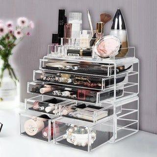 3 Pcs Set Acrylic Jewelry & Cosmetic Makeup Storage Display Boxes Stylish Vanity Bathroom Case -   18 diy Box makeup ideas