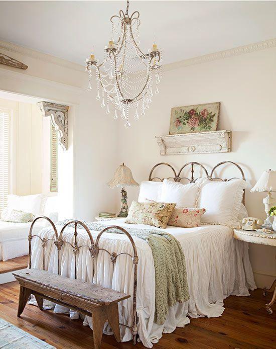 21 ideas para una habitacin shabby chic Quartos Cama romntica e