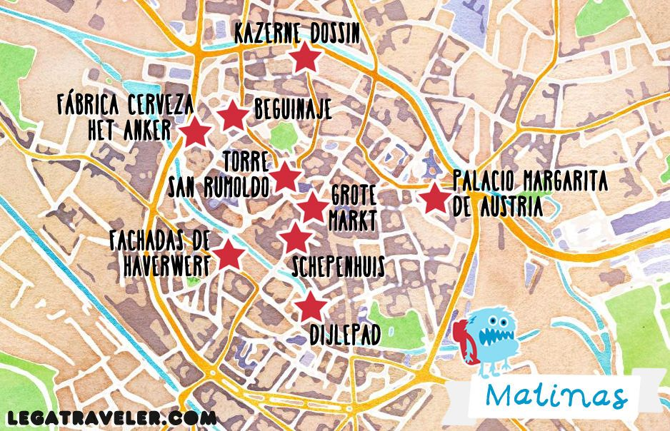Mapa Malinas Belgica Mechelen Map Belgium Mapas molones de