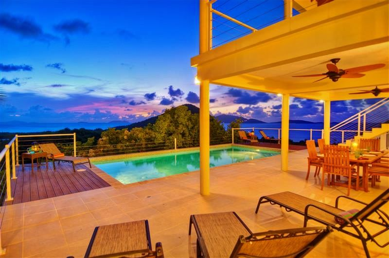 'Flamingo Sunset' Exquisite 4BR Tortola Villa in Belmont Estates w/Large Private Infinity Pool & 180-Degree Caribbean Sunset Views - 5 Minute Walk to Long Bay Beach! #tortola #travel