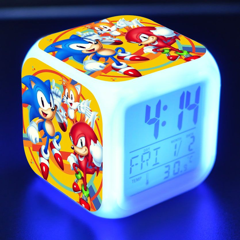 Sonic Glowing LED Alarm Clock 7 Color Changing Digital