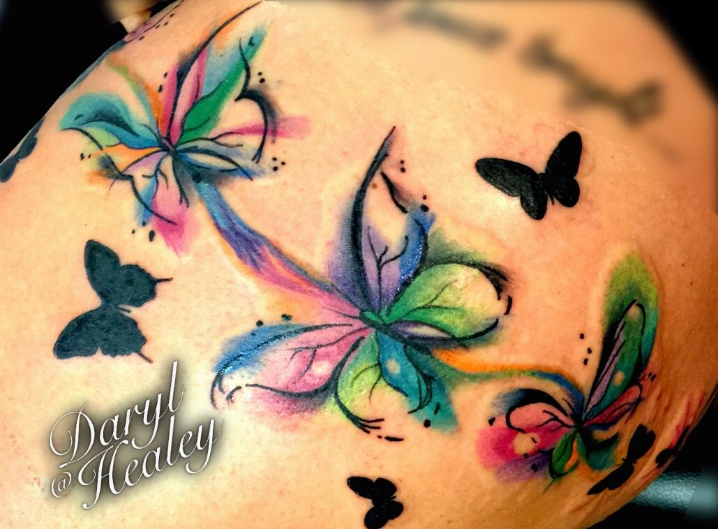 Watercolor Flower Moth Tattoo My Precious Ink: Water Colour Style Abstract Butterflies I Did. #tattoo