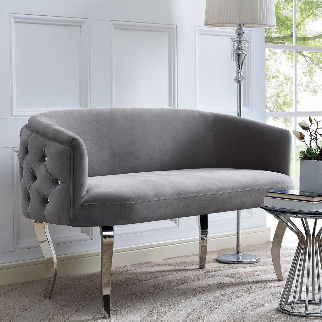 TOV Furniture Modern Adina Grey Velvet Loveseat With Silver Legs , Loveseat    TOV Furniture,