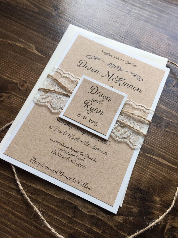 lace wedding invitation wrap%0A   vintage shabby chic  u    Sophie u     Wedding Invitation with lace and twine    Vintage shabby chic  Twine and Diy wedding supplies