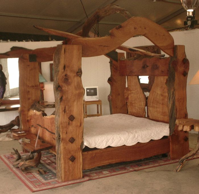 Canopy bed plans log home living article live edge for Unique beds for sale
