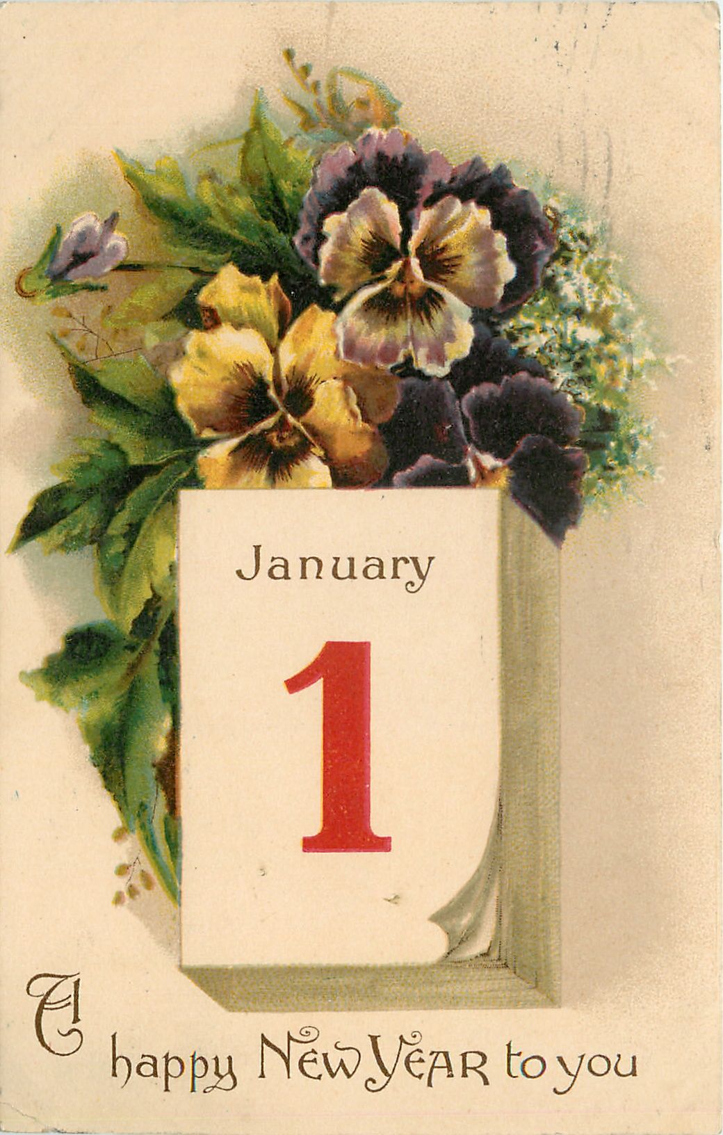 A HAPPY NEW YEAR TO YOU pansies above calendar JANUARY 1 image