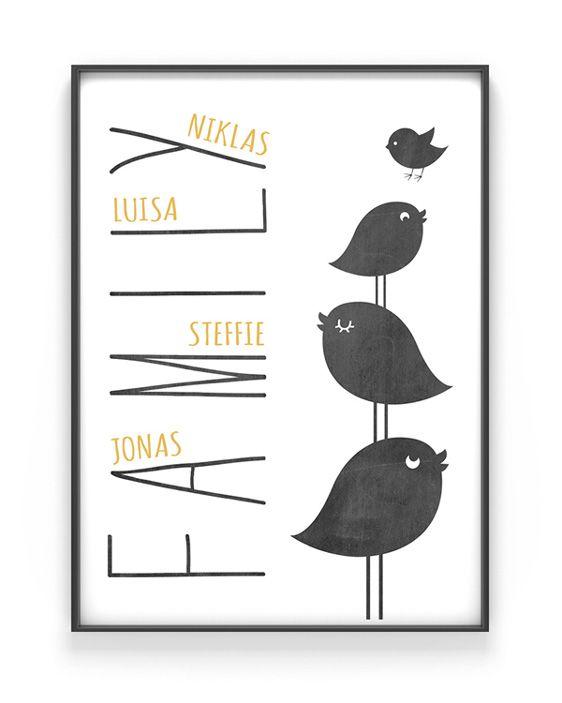 Personalisiertes Familien Poster | Schwarz Weiss mit Gelb | Printcandy