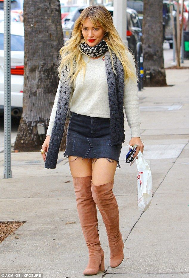 Hilary Duff Nails Winter Chic In Denim Mini Skirt And