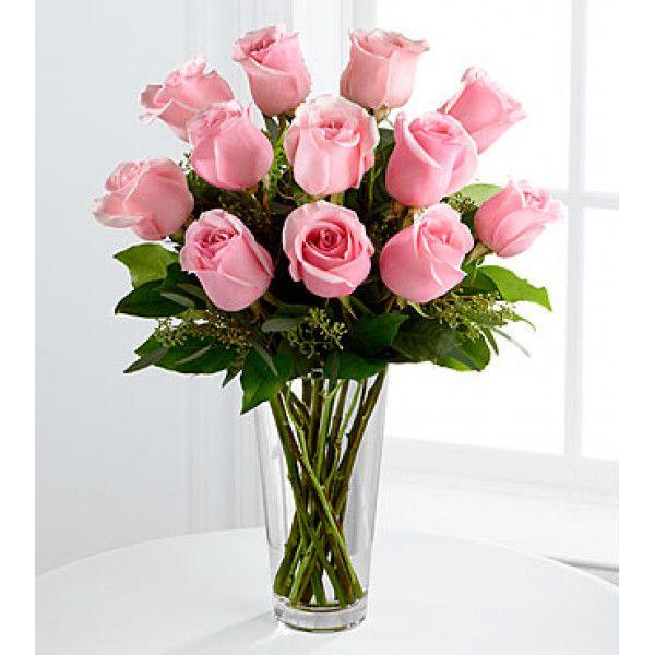Bouquet De Rose Rose A Longue Tige Vase Inclus Avec Images Composition Florale Bouquet De Roses Livraison Fleurs