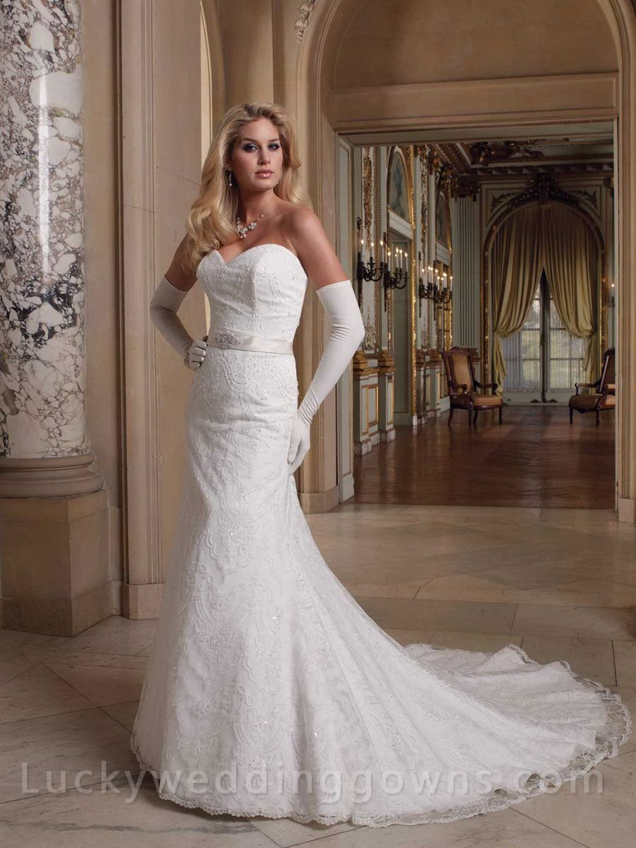 Elite wedding dresses  Sweetheart Neck Strapless Lace Slim Aline Bridal Wedding Gown
