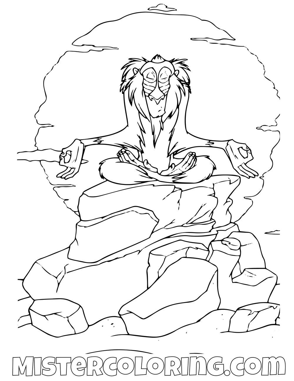 Rafiki Meditating The Lion King Coloring Pages Horse Coloring Pages Lion King Coloring Pages