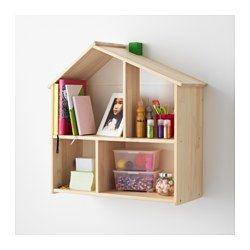 IKEA - FLISAT, Poppenhuis/wandplank, , In dit poppenhuis kan je kind een huis voor z'n poppen inrichten en met ze spelen.Als je kind ouder wordt, kan het poppenhuis worden gebruikt als open kast voor boeken, foto's en andere spulletjes die je kind wil laten zien.