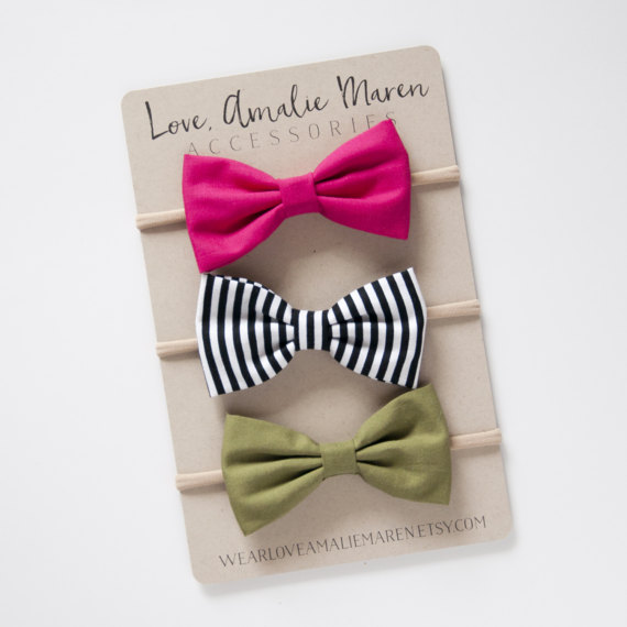 Pink Headbands Fabric Bow Headbands Black and White Stripe Baby Girl Headbands Set of Three Nylon Elastic or Alligator Clip