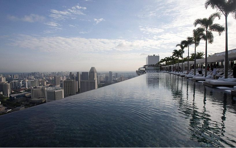 Singapore Pool Marina Bay Sands Hotel Rooftop Infinity Pool