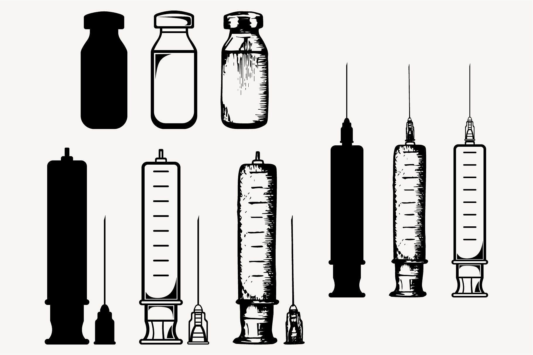 Syringe, needle, jar vector SVG PNG