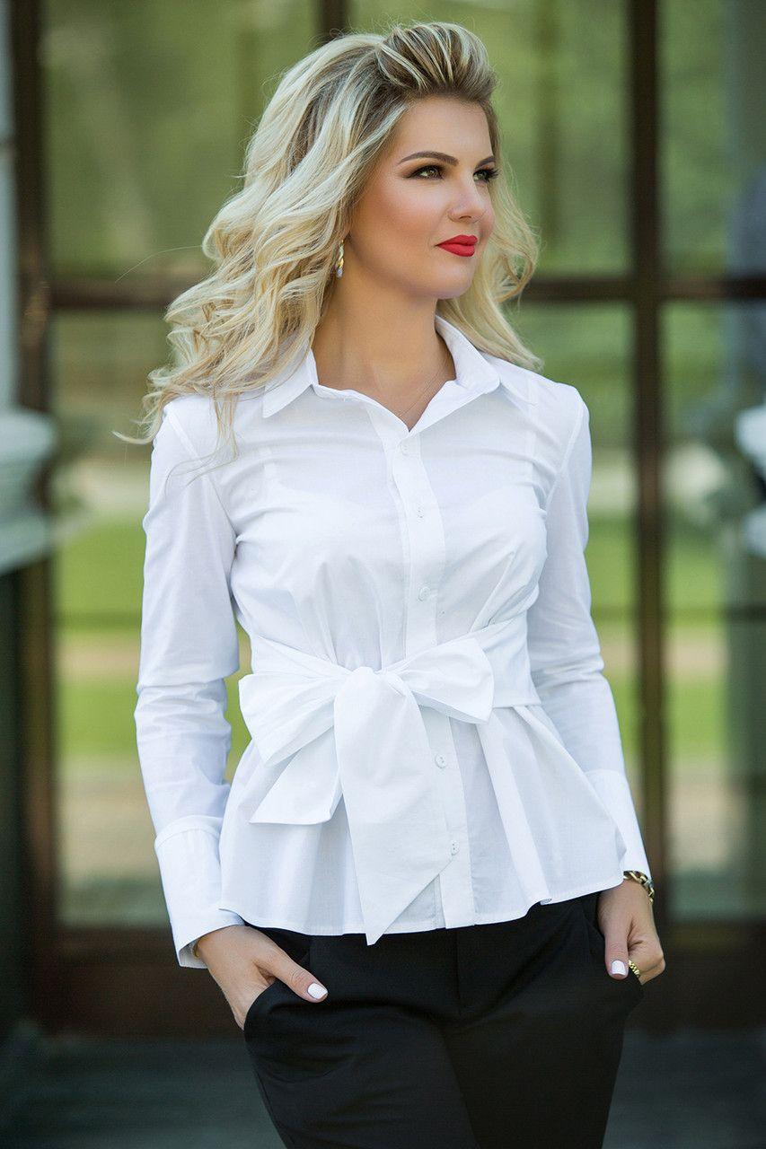 9f55d63e7856409 Купить Белая Рубашка с поясом. блузки и туники женские от