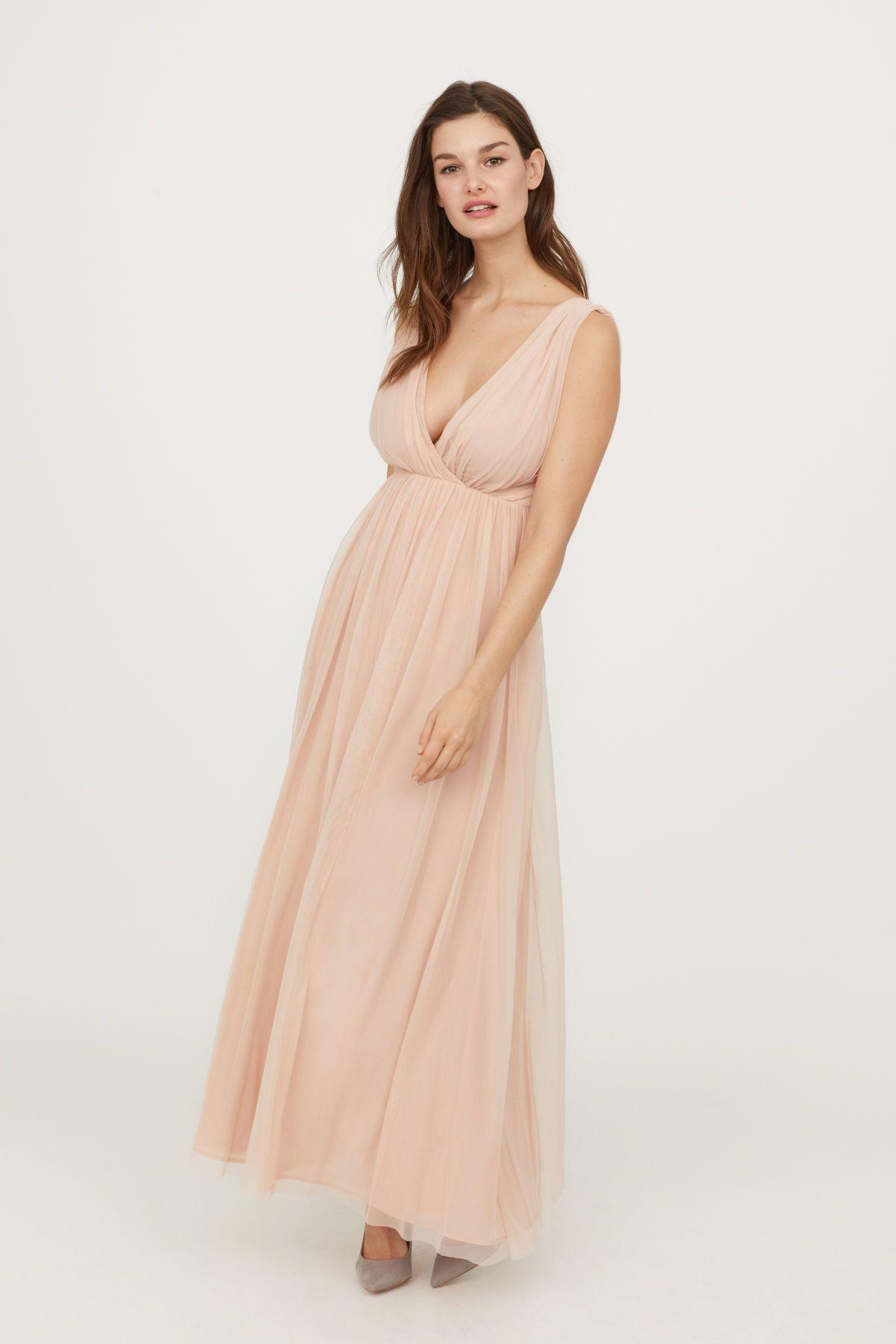 H&m dusty pink dress  Long Mesh Dress  Powder pink  WOMEN  HuM US  HuM  Pinterest