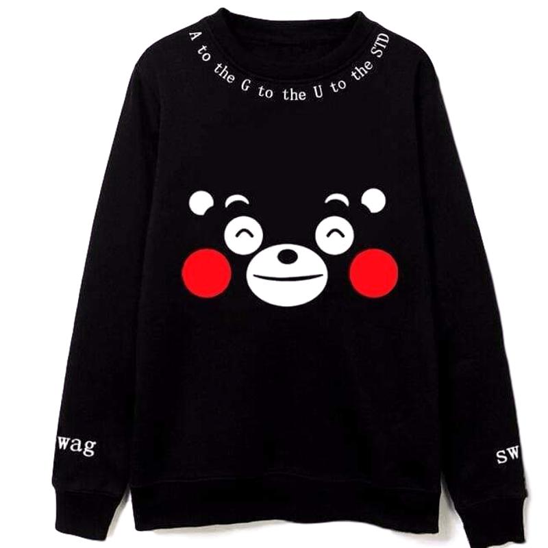 KUMAMON Cute Bear Logo Hoodie Autumn Winter Hooded Sweatshirt Cotton Hoody New