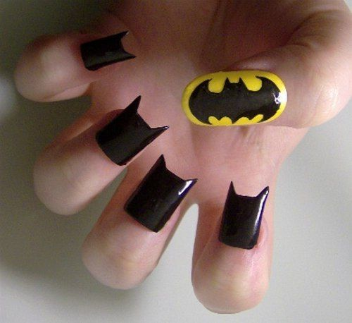 Dark Knight Rising Themed Nails... so cool.. but probably so painful