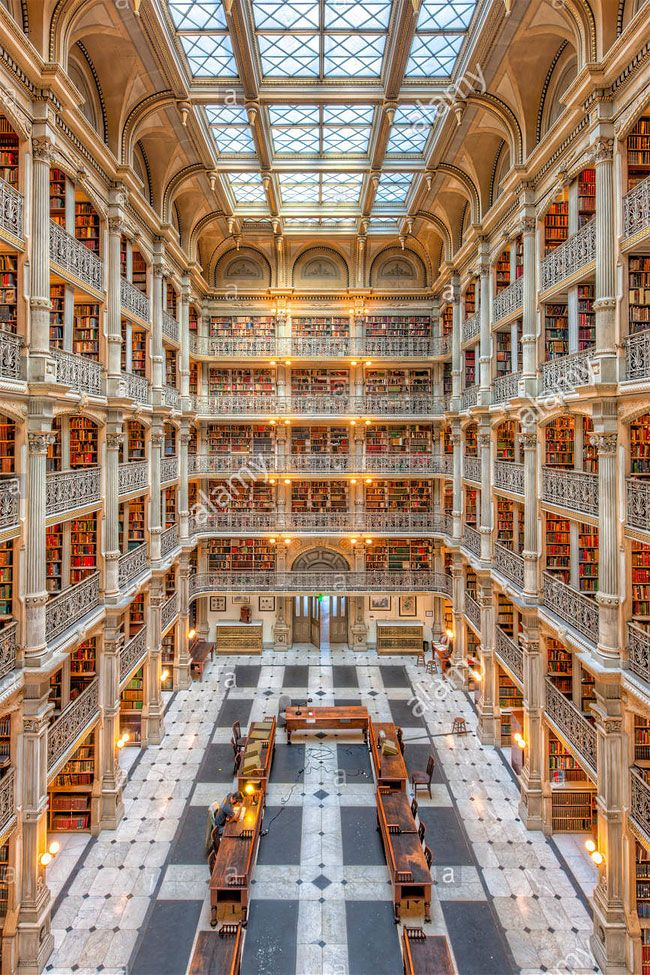 the magnificent interior of the george peabody library in baltimore