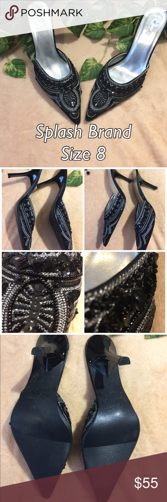 """✨ Splash Brand Embroidered Heels These are s beautiful pair of shoes! Made by the """"Splash"""" brand, these size 8 beauties are black with intricate black and silver detail and beading through out. The shoes are in excellent condition and ship immediatly!  📦 Splash Shoes Heels"""