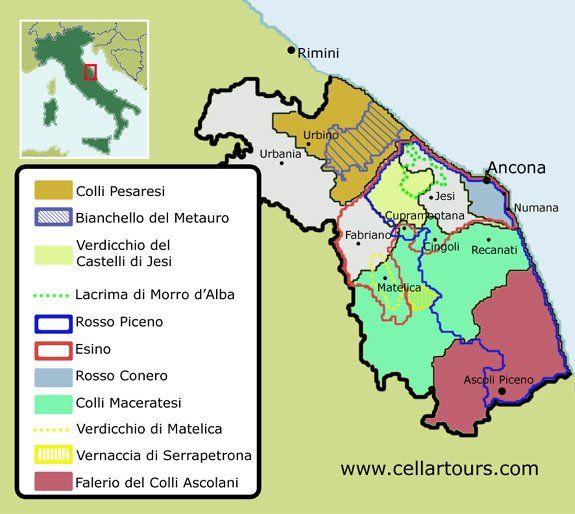 Marche Wine Region Map Verdicchio Vernaccia di Serrapetrona