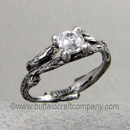Kristen Nature Inspired Wedding Ring Set Cast from palladium This