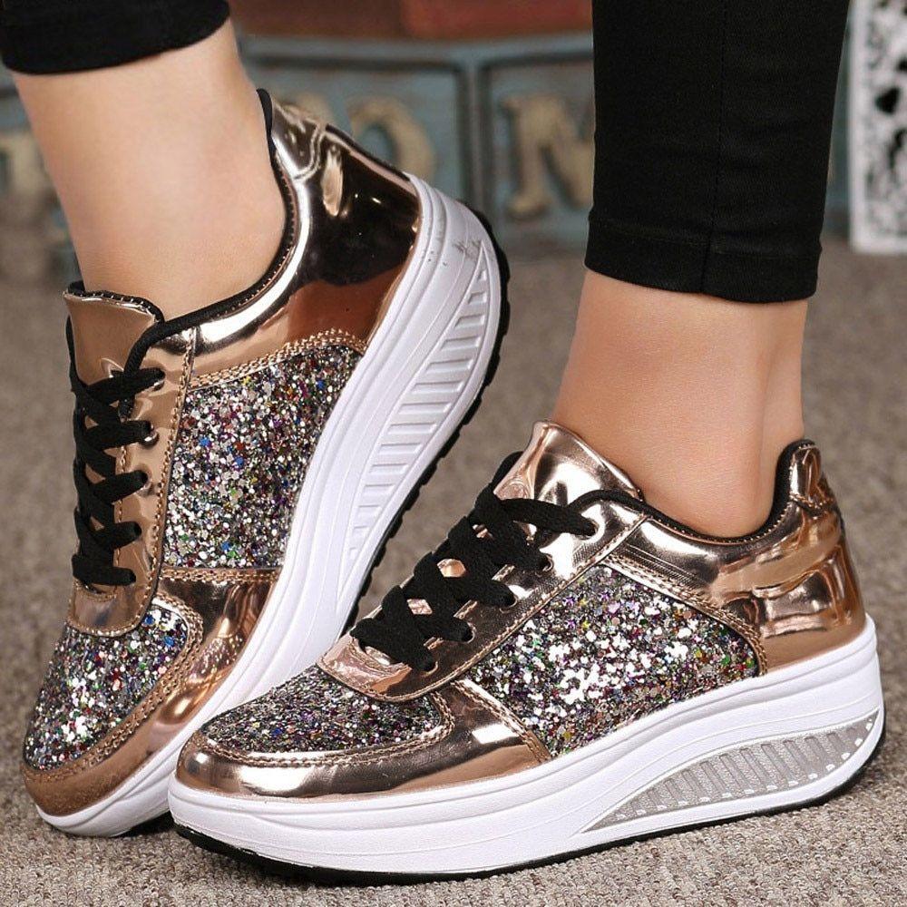 SAGACE Women's Sneakers Casual Ladies WedgesSneakers Sequins