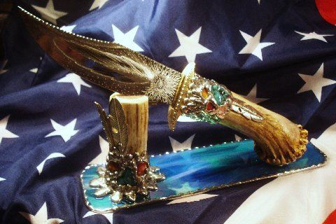 LAST ONE UNTIL END OF SEPTEMBER! HAND MADE ELK HORN KNIFE BY AMERICAN PICKERS TRAVIS PALMER.