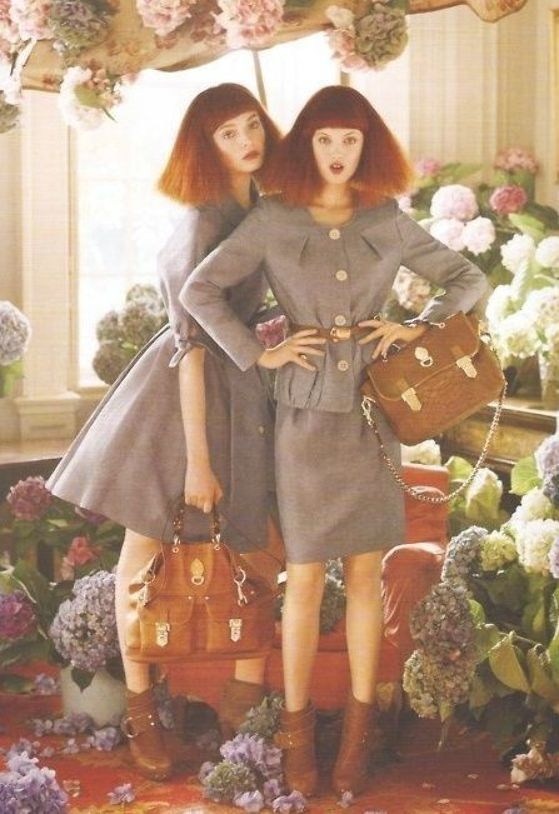 use of multiple models and flowers, and use of fun light poses. Tim walker        use of multiple m
