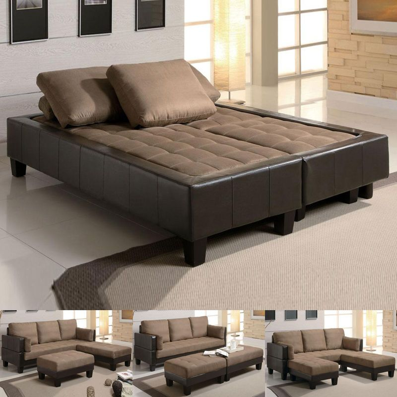 Fulton Tan Microfiber Convertible Sofa Bed Couch Sleeper 2 Ottoman  Sectional Set #Coaster #ModernContemporaryCasual