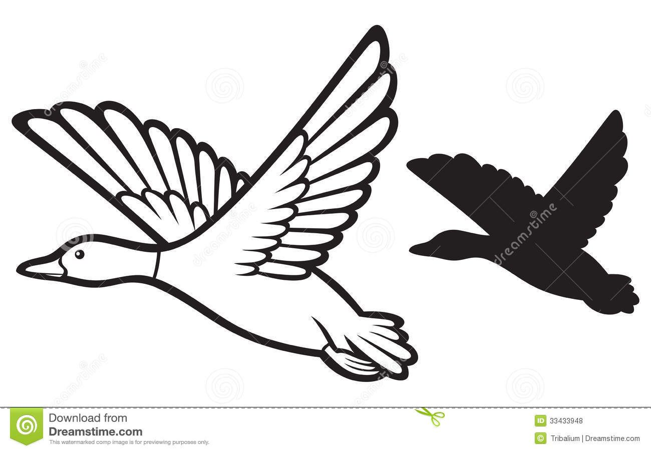 Flying Duck Clipart Black And White Clipart Panda