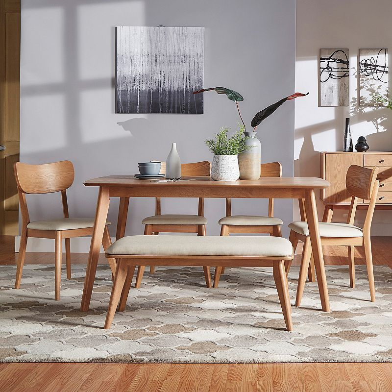 HomeVance Skagen Natural Finish Dining Table Chair Bench 6 Piece Set Beig Green Khaki