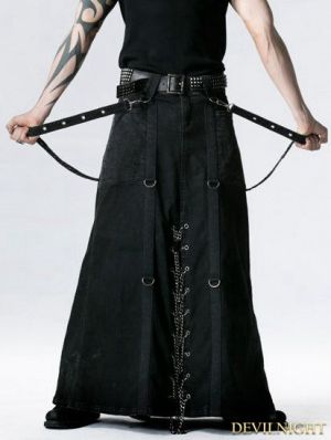 Black Gothic Punk Heavy Metal Long Skirt for Men | Projects to Try ...
