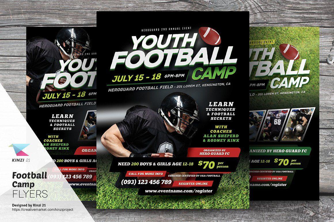 Football Camp Flyer Templates | Pinterest | Flyer template, Template ...