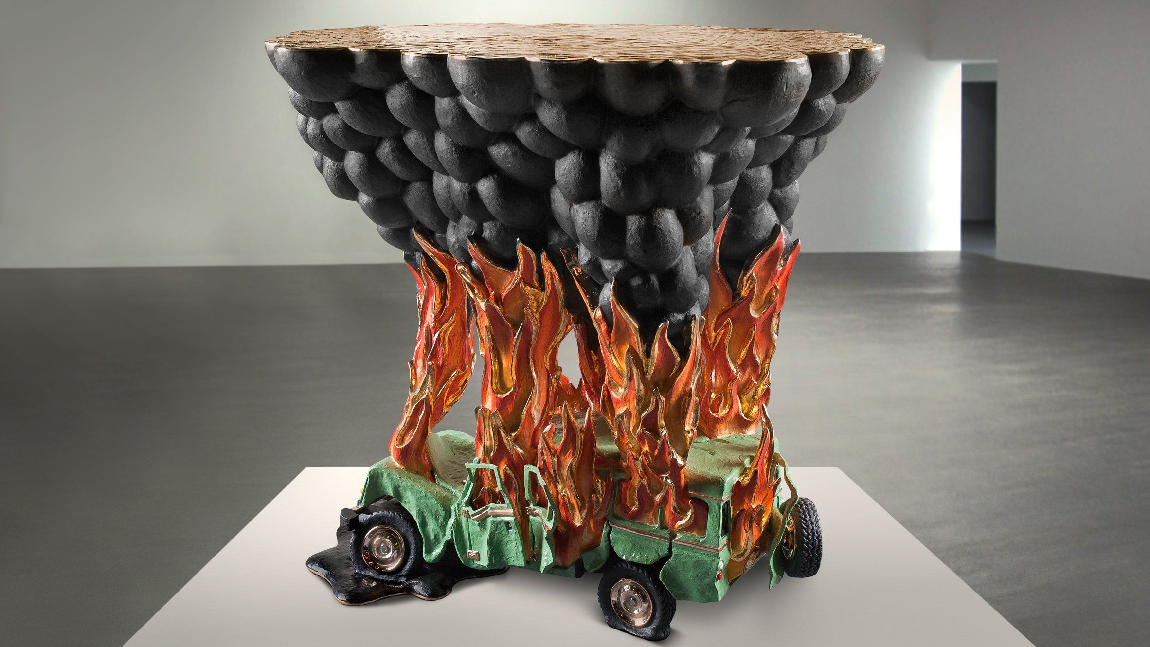 Studio Job has expanded on its autobiographical Train Crash table with a coffee table version depicting a burning car