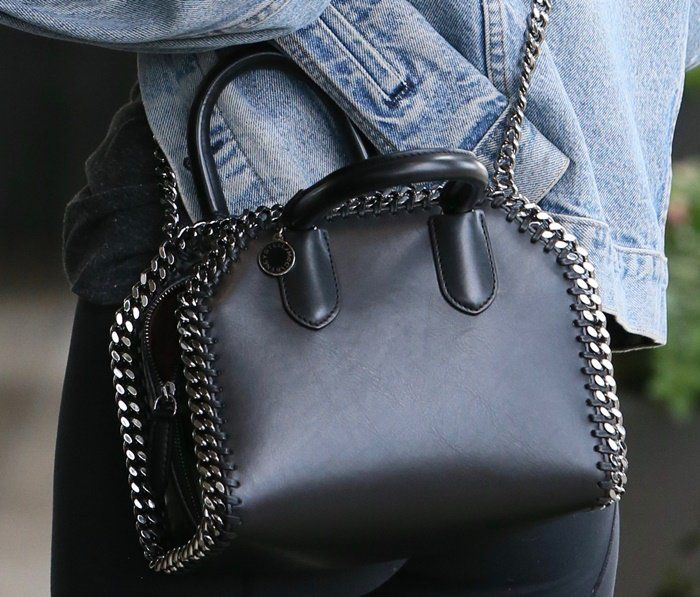 65fae8dff2 Rooney Mara carrying a Stella McCartney  Falabella  box mini bag ...