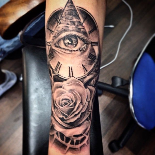 Clook With Doller Eye And Rose Tattoo Ending The Week With This