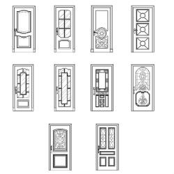Cad block of doors elevation in dwg 2d wireframe cad - Finestre prospetto dwg ...
