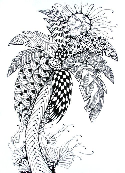 Zentangle Palm | hombres | Pinterest | Mandalas, Palmera dibujo y ...