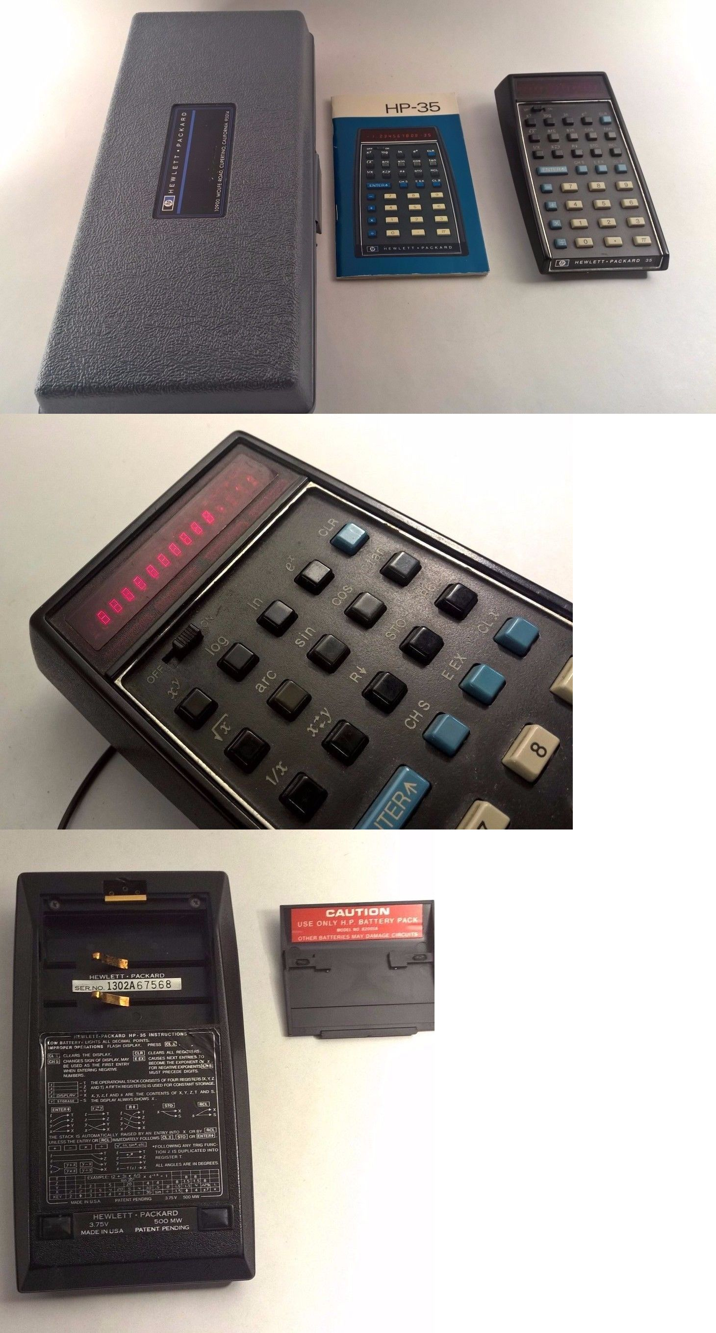 Vintage Calculators Hewlett Packard Hp 35 Vintage Scientific Calculator Case And Manual Works Buy It Now Onl Scientific Calculators Hewlett Packard Hewlett